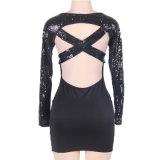 Черное Backless платье шикарных женщин втулки Sequins