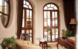 Fenêtre en bois massif en verre trempé au bois de mélèze naturel