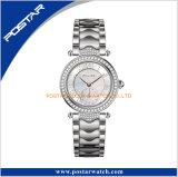 Venta caliente completa resistente de señora reloj del diamante del reloj del acero inoxidable de agua en Europa