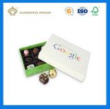 Rectángulo de regalo de empaquetado del alto chocolate de oro de lujo de la tarjeta con la bandeja interna (con la insignia grabando)