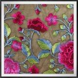 Вышитый цветком шнурок вышивки сетки шнурка