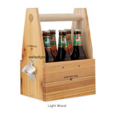 De houten Carrier van de Fles van het Bier met Opener (cpgc-7017X)