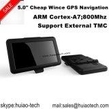 """Hot Sale 5.0 """"Navegação GPS de carro com HD 800 * 480pixels Touch Panel, Transmissor FM, AV-in, câmera de visão traseira"""