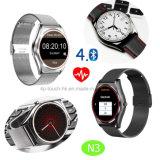 Téléphone intelligent de montre de poignet de Rond-Écran de mode avec la fréquence cardiaque N3