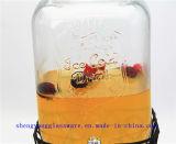 Freies Beispielsaft-Speicher-Glas-Wein-Behälter mit Standplatz-Saft-Speicher-Glas mit Glaskappen-und Metallhahn