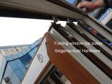 La madera como Rehau/perfil de PVC Veka Bifold y plegado de ventana deslizante