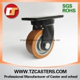 Spray-Paint Black Swivel Caster com PU Wheel Centro de ferro fundido