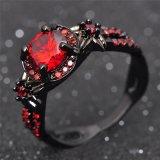 Het rode Zwarte Goud van de Juwelen van de Overeenkomst van de Granaat Charmante vulde de Ring van de Belofte