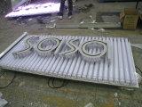 Store Publicité panneau de lampe LED en acier inoxydable résine lettres signe