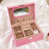 高い等級PUの宝石類および装飾のコレクション、ヨーロッパ式の宝石類の収納箱のための革二重層の宝石箱