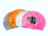 Adultos colorido logotipo impreso altamente elástica y Super Stretch gorros de natación silicona
