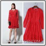 Оптовая продажа платья коктеила партии шнурка женщин красная