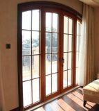 Grado Superior de aluminio color madera Casement frente de vidrio puerta con arco de la parte superior (ACD-029)