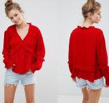 Kragenlose Dame-Bluse mit langer Hülsen-Bluse