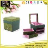 Quadratischer Form-grüne Farben-Leder-Schmucksache-Kasten