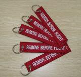 Personalizado bordado remover antes do vôo Keychain