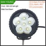 indicatore luminoso di funzionamento largo del fascio LED dell'inondazione 18W per il lavoro di Truks Forlift