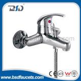 Singolo rubinetto fissato al muro d'ottone dell'acquazzone della leva