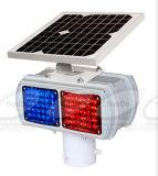 Luz de advertencia de seguridad vial azul rojo flash LED Solar