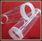 Claro tubo Tubo de vidrio de cuarzo de sílice con rosca de tornillo final