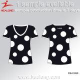 Healong China Hersteller-Kleidungs-Sublimation-Jugend-Schule Grils T-Shirt für Verkauf