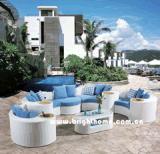 Kombinations-aus Weiden geflochtenes im Freienmöbel-Sofa gesetztes Bp-873f