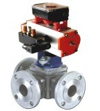 Válvula de esfera de 3 vias pneumática solenóide