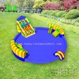 Drie Kleuren 2 in 1 Opblaasbare Dia met Zwembad voor het Spel van het Water