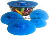 Jogo da bacia padrão resistente ao calor da sução do silicone de 5 FDA, bandeja, copo, tampas do recipiente