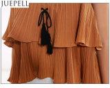 Nuova camicetta Flounced laminata superiore della maglia delle donne della camicia del cablaggio senza bretelle della fasciatura del popolare di colore solido di estate delle donne europee ed americane piccola