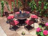Комплект таблицы BBQ напольного сада мебели литого алюминия установленный