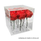 ふたが付いているハンドメイドの9本のばらのアクリルの花の陳列ケース