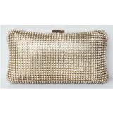 Bon marché de gros sac d'embrayage en cuir pour le parti, personnalisé Trendy bling cristal perlé sac de soirée