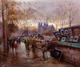 Cena de rua Paris impressionantes pinturas de Arte de lona para decoração