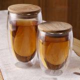 Tazza di vetro di vetro della spremuta dell'anti di caffè bevanda calda di vetro doppia calda della tazza