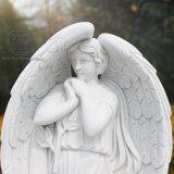 천사의 절묘한 백색 대리석 조각품, 고맙게 여기는 천사 동상