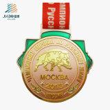 Металл печатание возможности фабрики поставкы производит изготовленный на заказ медаль с тесемкой