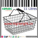Aço Wire Mesh Round Cesta de compras com bandeja de plástico