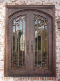 Melhor porta de entrada superior quadrada do ferro feito da qualidade com vidro