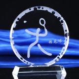 Premio trofeo de cristal redondo de lujo de insignia de encargo