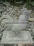 実物大の花こう岩の雄ん鶏の彫像の大理石の装飾のための動物のオンドリの彫刻