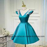 Cetim luxuoso A do Short do vestido de noite - linha vestidos formais