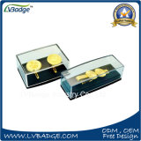 Clip de metal personalizados y gemelos de metal en caja de plástico