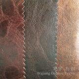 Cuoio domestico 100% del Faux del poliestere del tessuto del sofà della tessile con bronzare trattamento