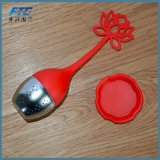Feuilles mobiles de silicones de cuillère à café d'Infuser de thé d'acier inoxydable
