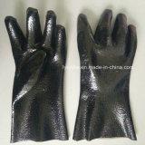 黒い滑り止めPVCによって塗られる働く手袋