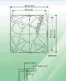 Электровентилятор системы охлаждения двигателя постоянного тока. Размер 80*80*25мм с маркировкой CE&Сертификация UL.