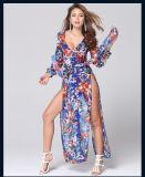 Reizvolle Drucken-lang Maxi Kleid der beiläufiges Kleid-lange Hülsen-tiefe V aufgeteiltes des Stutzen-zwei