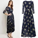Звезды платья лета напечатали конструкцию платья шифонового офиса шифоновую