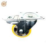 Mingze PU auf Aluminiumfelgen-Gesamtdoppelt-Bremsen-Fußrollen-Feuergebühren-/Polyurethan-Form auf Alu. Kern-Fußrollen